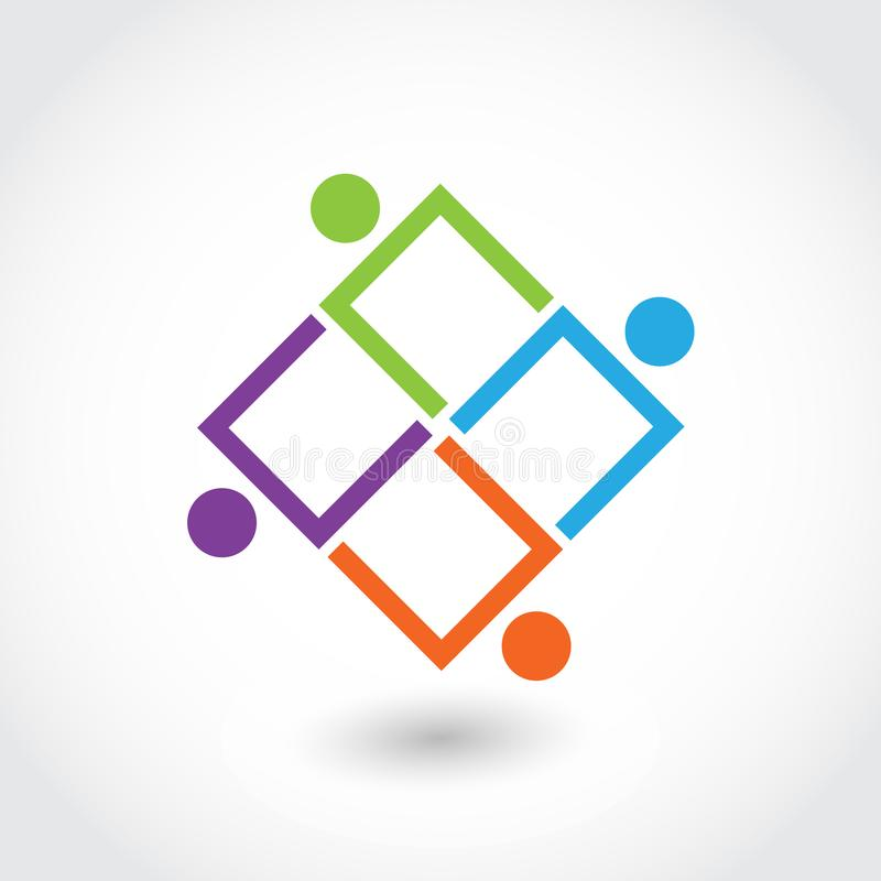 Teamwork business people in a square shape icon logo vector royalty free illustration