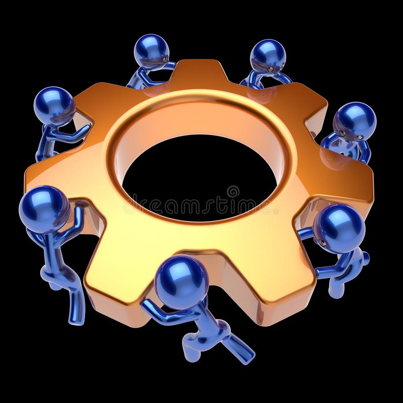 Teamwork business process team work men turning gear wheel. Gear wheel teamwork cogwheel business process team work men workers turning gearwheel together vector illustration