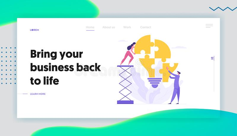 Teamwork Business Solution Concept Landing Page with Characters Collect Light Bulb Puzzle Pieces Επιχειρηματίας ελεύθερη απεικόνιση δικαιώματος