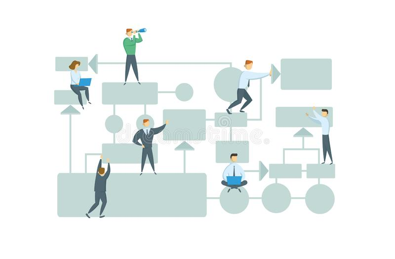 Teamwork, business workflow layout with chart elements and people figures. Business plan. Colorful flat style vector royalty free illustration