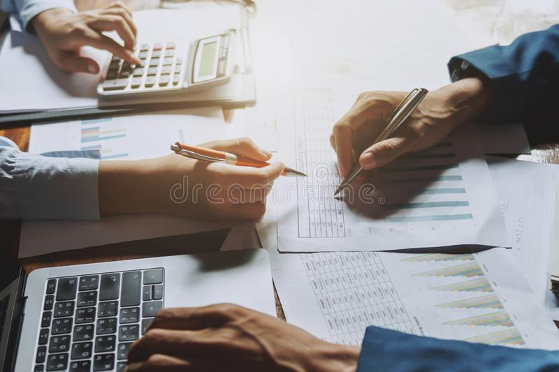 teamwork business working on desk accounting concept financial in office stock photography