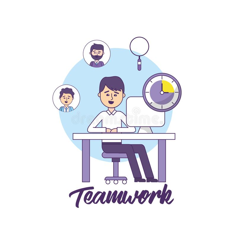 Teamwork businessman with computer document information. Vector illustration stock illustration
