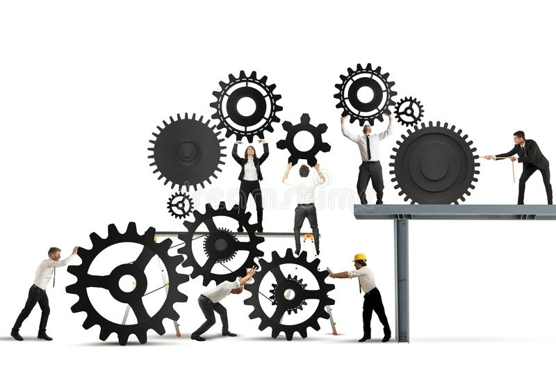 Teamwork of businesspeople stock illustration