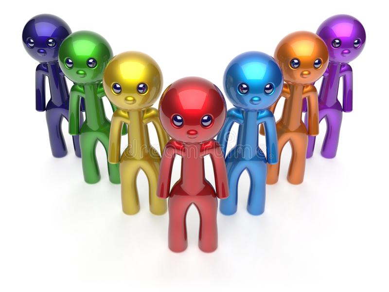 Teamwork cartoon characters men crowd individuality icon royalty free illustration