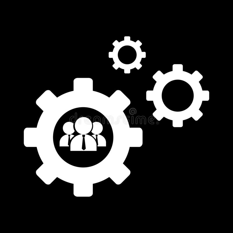 Teamwork and cog for web icons and symbols on a black background. And flat stock illustration