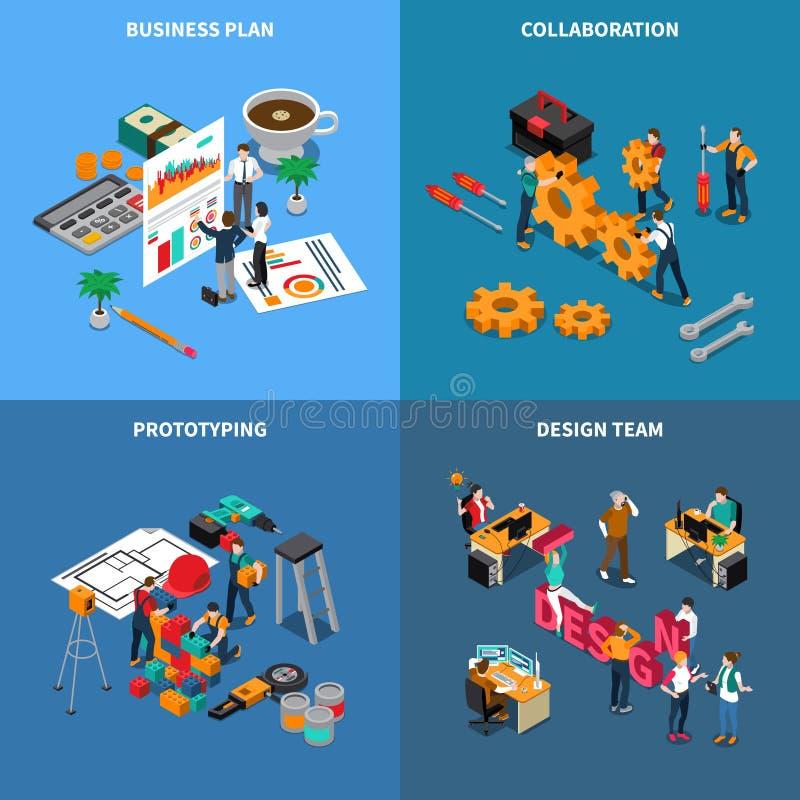 Teamwork Collaboration Concept Icons Set royalty free illustration