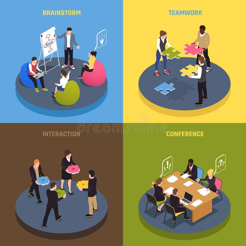 Teamwork Collaboration Isometric Concept. Teamwork collaboration concept 4 isometric icons with employees ideas sharing conference agreements brainstorm stock illustration