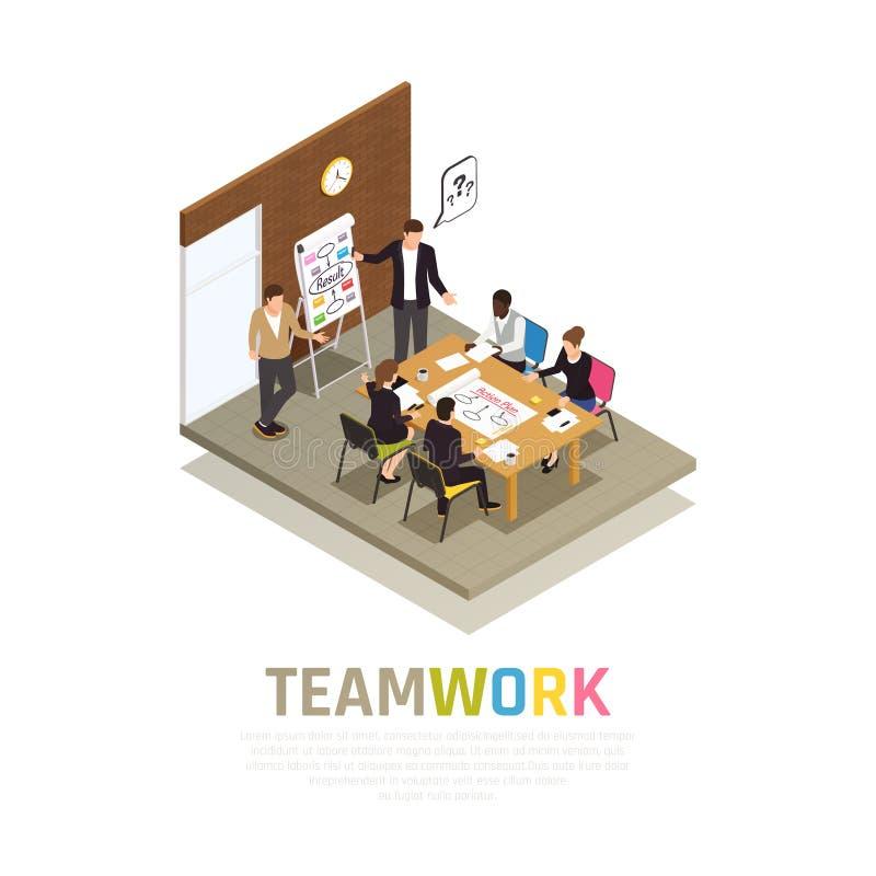 Teamwork Collaboration Isometric Composition royalty free illustration