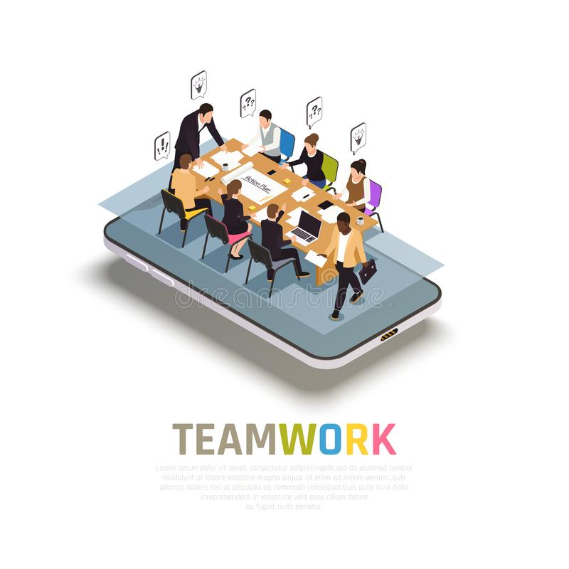 Teamwork Collaboration Isometric Composition stock illustration