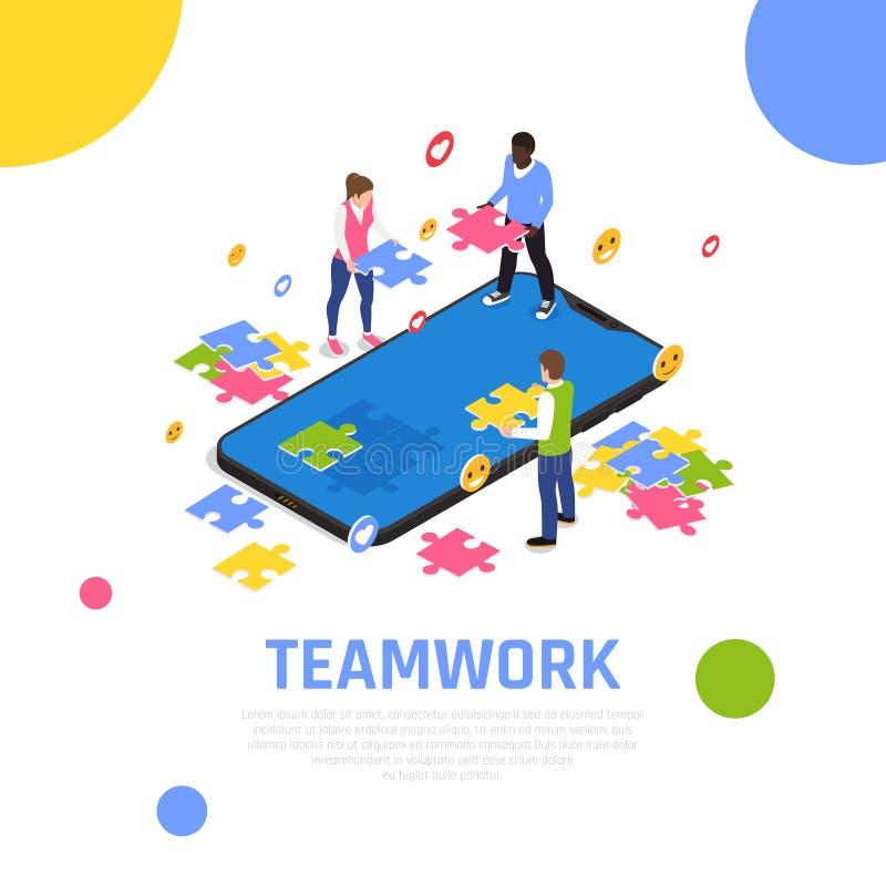 Teamwork Collaboration Isometric Composition vector illustration