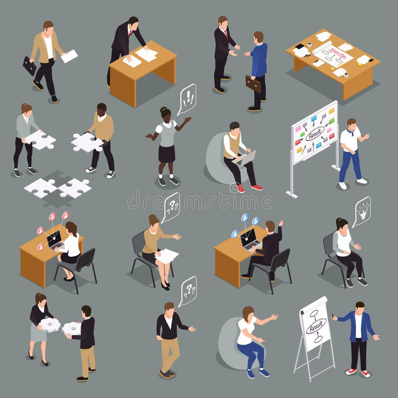 Teamwork Collaboration Isometric Set royalty free illustration