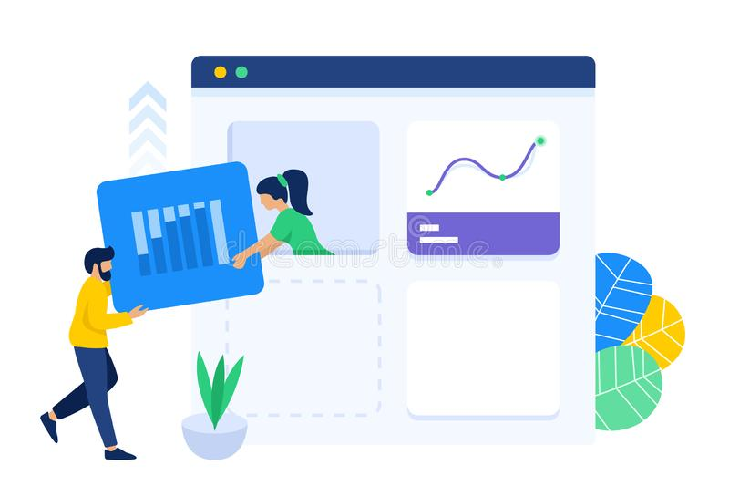 Teamwork collaboration to create web dashboard royalty free illustration