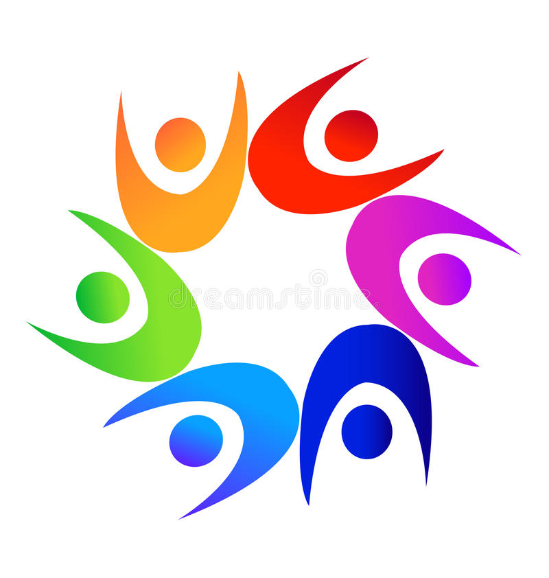 Teamwork colorful diverse people logo. Vector design royalty free illustration