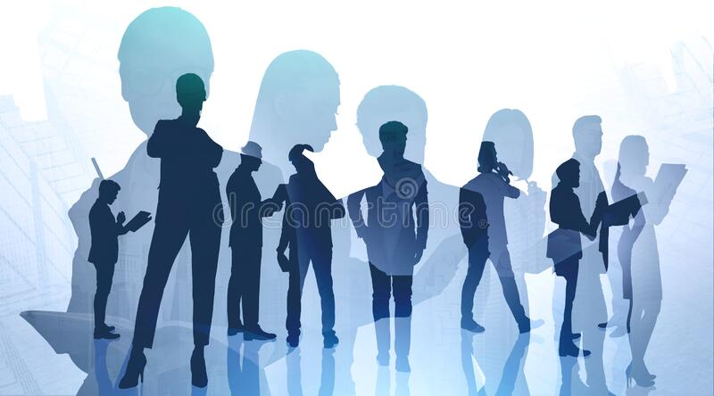 Teamwork and communication business people in city. Concept of teamwork and communication. Silhouettes of business people with double exposure of abstract royalty free stock image