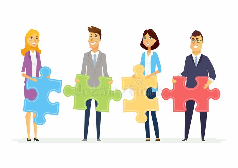 Teamwork in a company - modern cartoon people characters illustration stock illustration