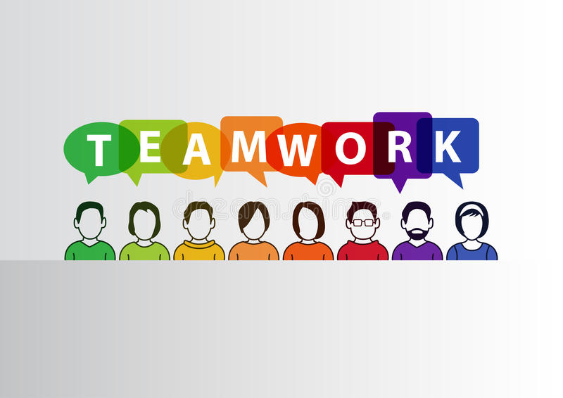 Teamwork concept as illustration of group of people working together.  stock illustration