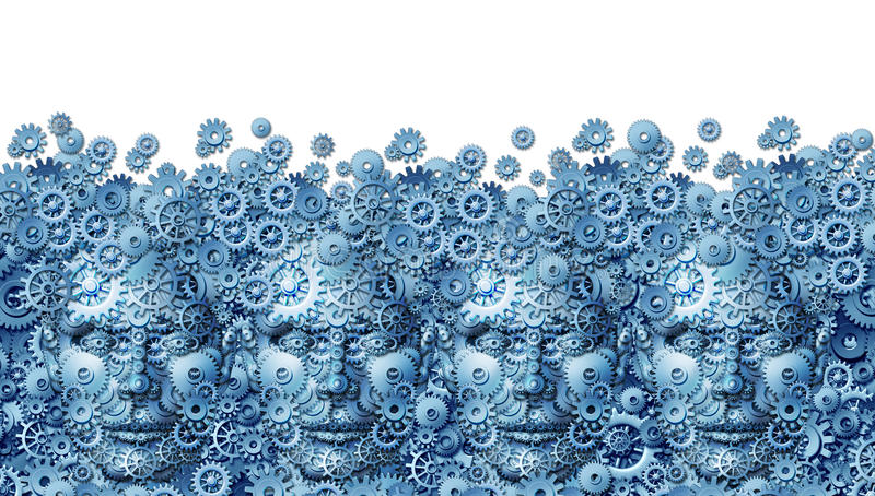 Teamwork Concept. As a working business group of human heads shaped with machine gears and cog wheels connected together as a technology symbol for future stock illustration