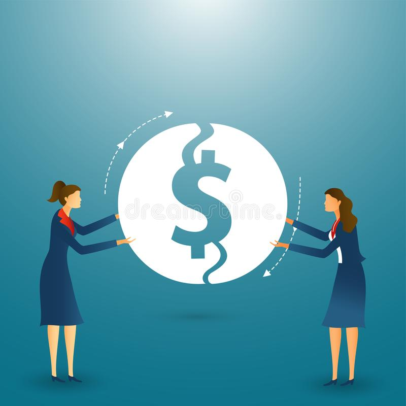 Teamwork concept based design with businesswoman character, financial sharing or monetary fund to build a successful company. royalty free illustration
