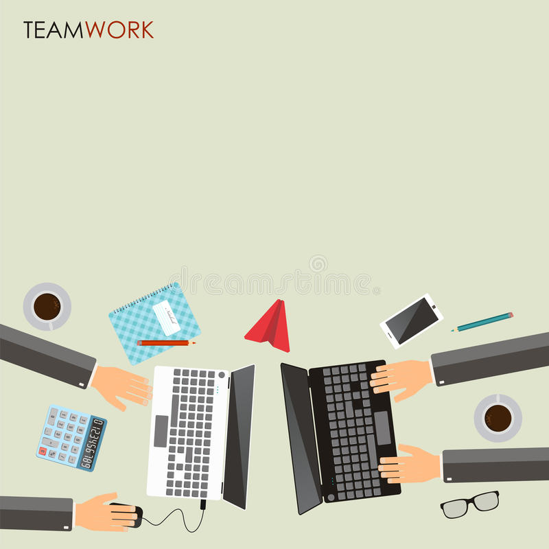 Teamwork concept. Business partners working together at office d stock illustration