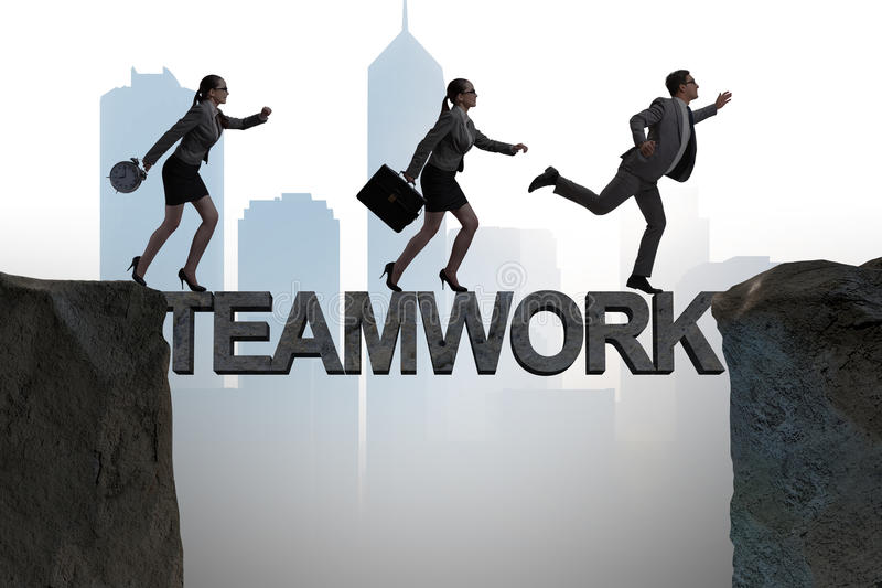 The teamwork concept with business people crossing bridge stock photography