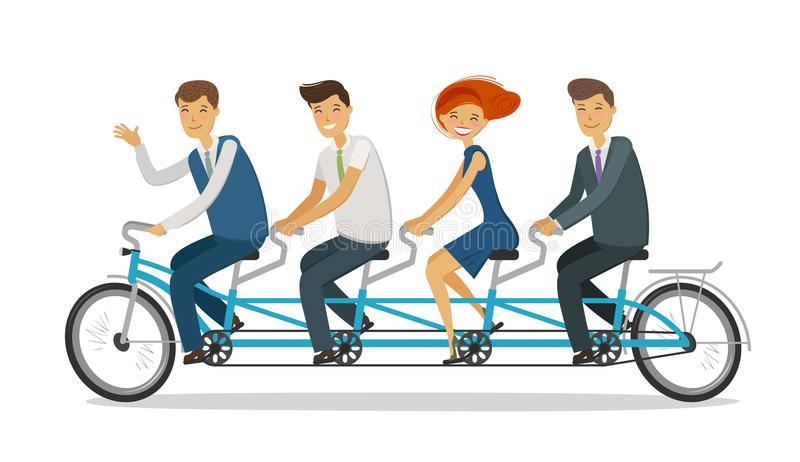 Teamwork concept. Business people or students riding tandem bike. Cartoon vector illustration. Teamwork concept. Business people or students riding tandem bike vector illustration