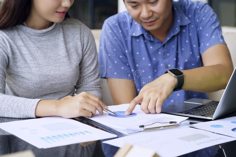Teamwork Concept. Business people talking with planning work the stock photo