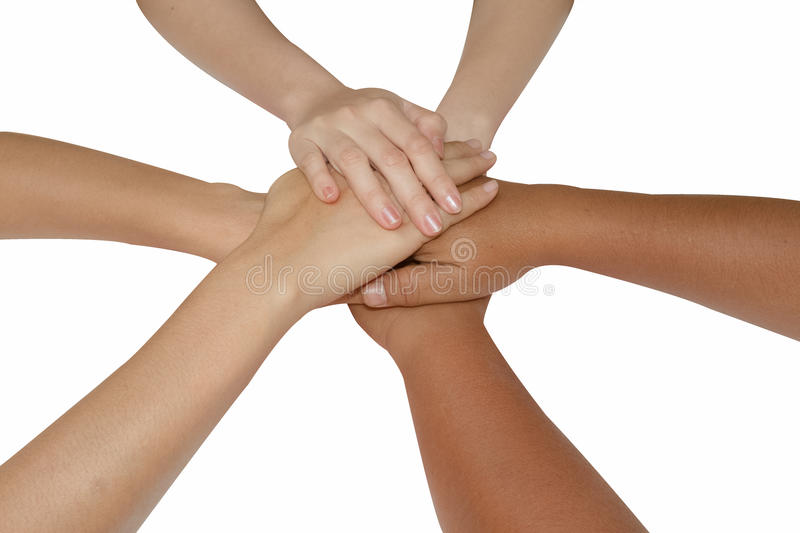 Teamwork concept,Business team joining hands holding together co royalty free stock photo
