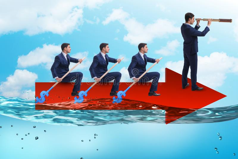 The teamwork concept with businessmen on boat. Teamwork concept with businessmen on boat royalty free stock photography