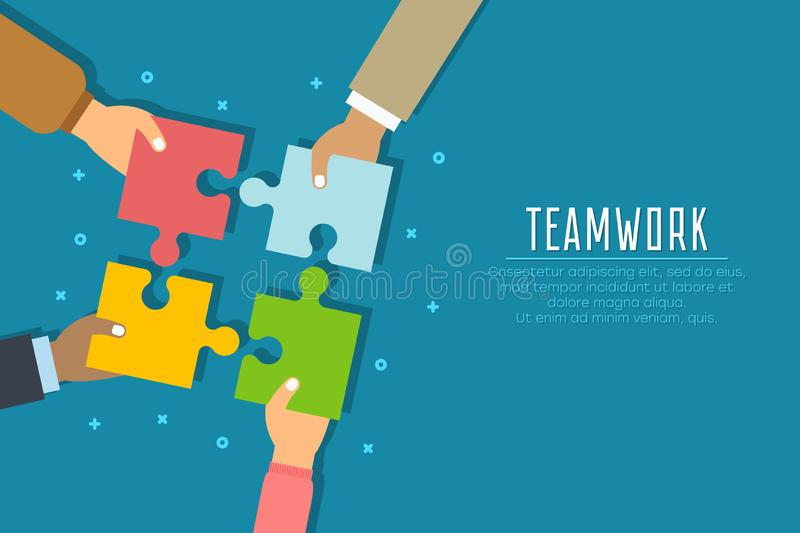 Teamwork concept. Businessmen hold in hands and connect the pieces of jigsaw puzzle. Team work business metaphor. royalty free illustration
