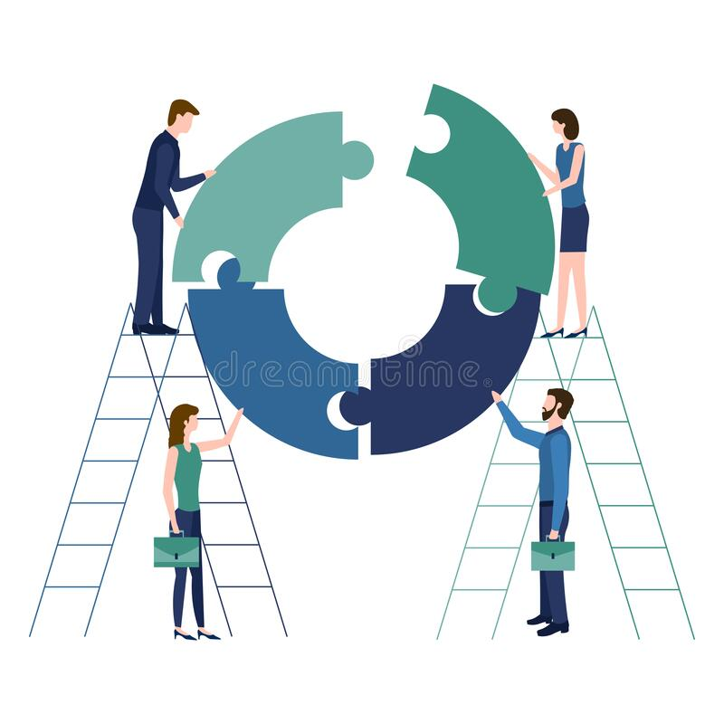 Teamwork concept, collaboration and partnership metaphor. People work together connecting round puzzles. Symbol of team, business vector illustration
