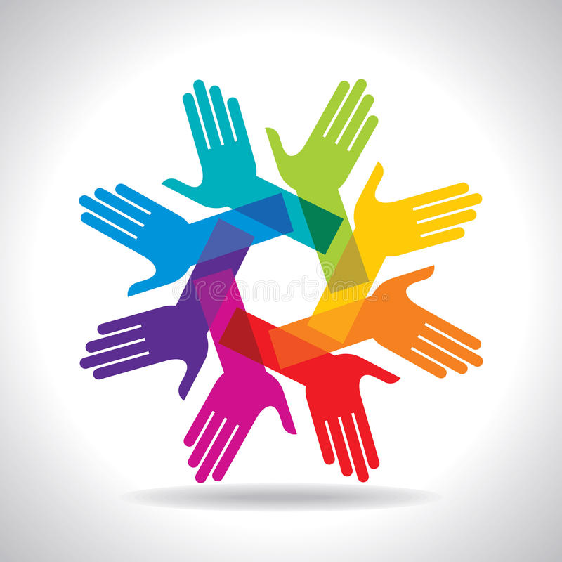 Teamwork concept, with colourful hands stock illustration