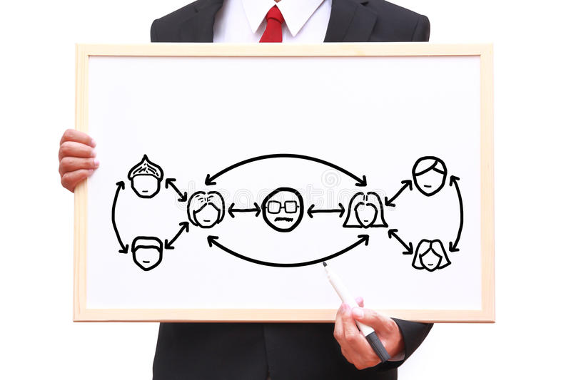 Teamwork concept. Drawing teamwork chart on white board royalty free stock photography