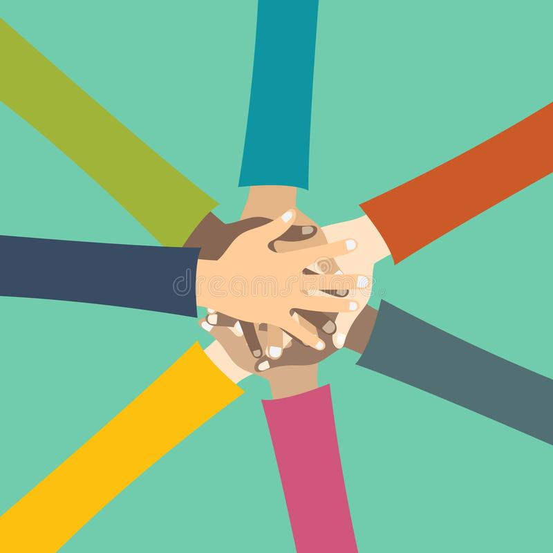 Teamwork concept. Friends with stack of hands showing unity and teamwork, top view. Young people putting their hands together vector illustration