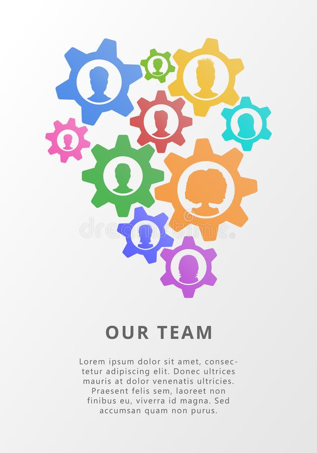 Teamwork concept with gears and people icon avatars. Flat vector illustration for business meeting, project managemt royalty free illustration