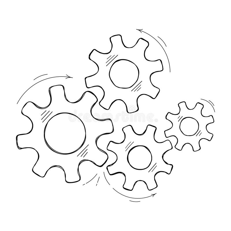 Teamwork concept hand drawn cog and gear sketch. Mechanical cogs vector sketch illustration. Teamwork concept factory mechanism with hand drawn cog and gear royalty free illustration