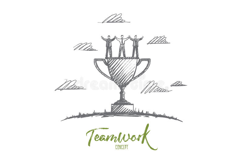 Teamwork concept. Hand drawn isolated vector. Teamwork concept. Hand drawn men and women celebrating success teamwork. Command of winners and cup isolated vector vector illustration