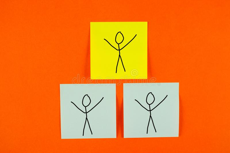 Teamwork concept image. Drawing of people helping each other stock photography