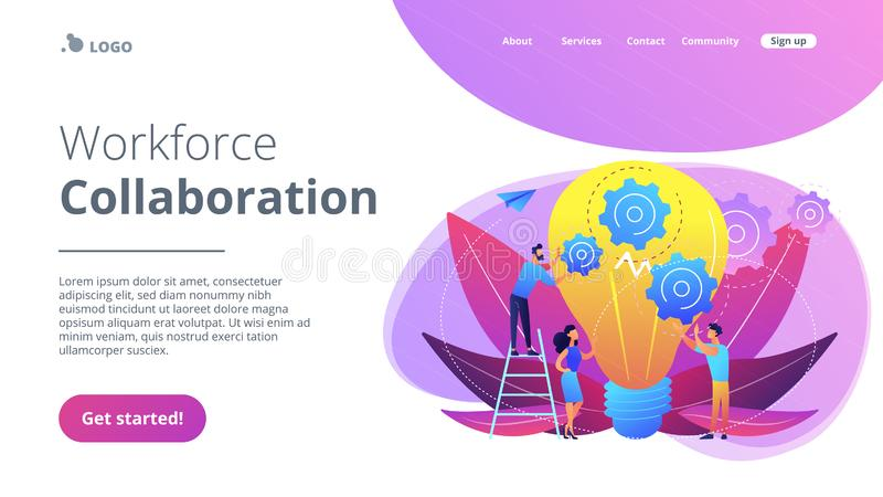 Teamwork concept landing page. Huge lightbulb and business team holding gears. Teamwork and collaboration, goal achievement, colleagues and workforce concept on stock illustration