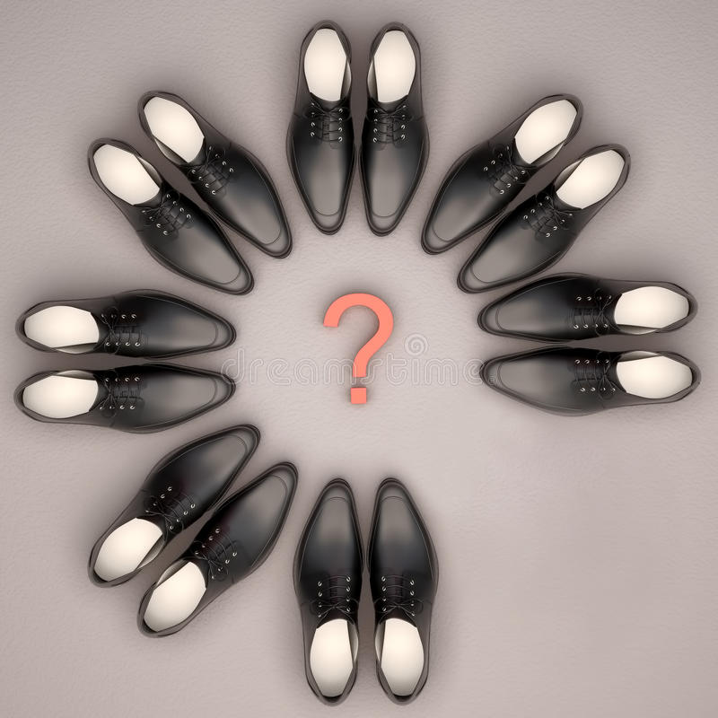 Teamwork concept. Men's shoes are located in the form of a circle. One couple is absent stock photography
