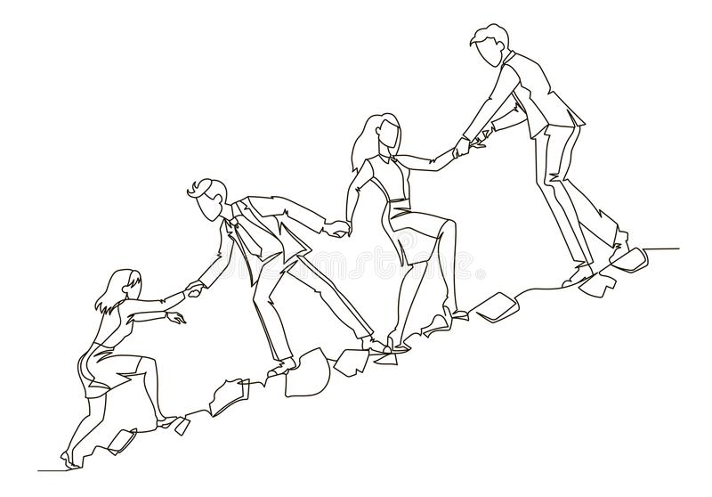 Teamwork Concept Outline. Business People Climbing Together in Mountain Continuous Line Art. Partnership, Motivation royalty free illustration