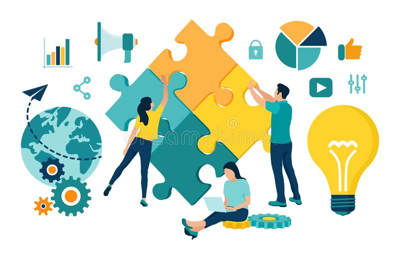 Teamwork concept. People connecting puzzle elements. Business team. Symbol of teamwork, cooperation, partnership, association and. Connection. Team metaphor vector illustration