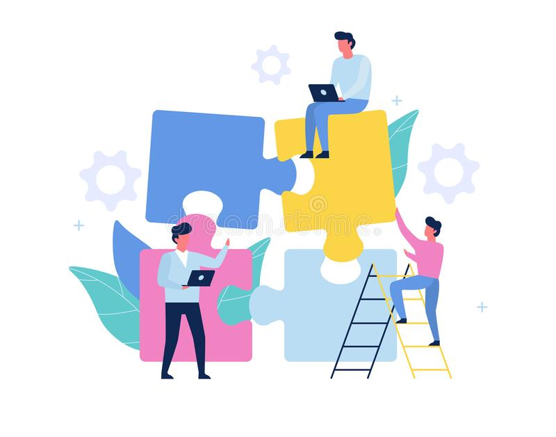 Teamwork concept. People work together, holding jigsaw royalty free illustration