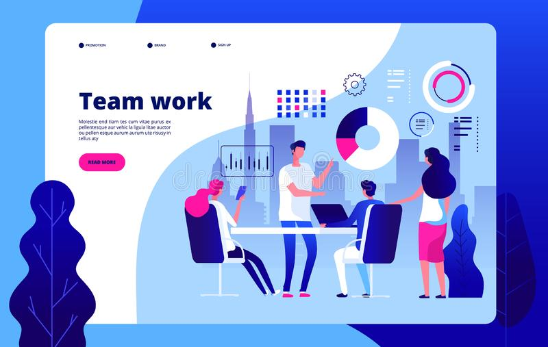 Teamwork concept. People working together smart business solution outsourcing business construction clipart vector. Landing page. Illustration of business stock illustration