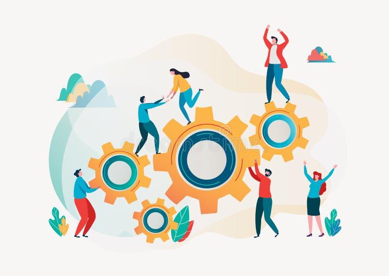 Teamwork concept. Team building. Team metaphor. Together concept. Vector illustration. Flat cartoon character graphic design. Landing page template,banner vector illustration