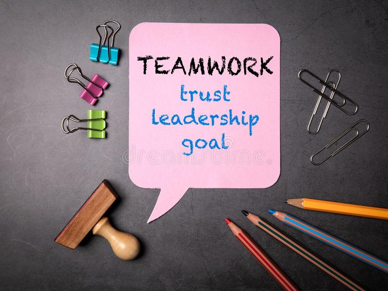 Teamwork concept. Trust, leadership and goal stock image