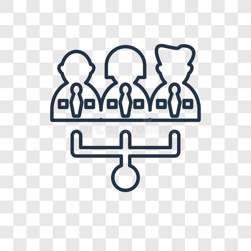 Teamwork concept vector linear icon isolated on transparent back vector illustration