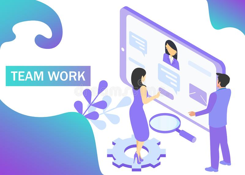 Teamwork concept in violet colors. Use for web banner, infographics, strategies. Isometric projection. Vector illustration.  royalty free illustration