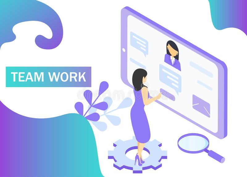 Teamwork concept in violet colors. Use for web banner, infographics, strategies. Isometric projection. Vector illustration.  stock illustration
