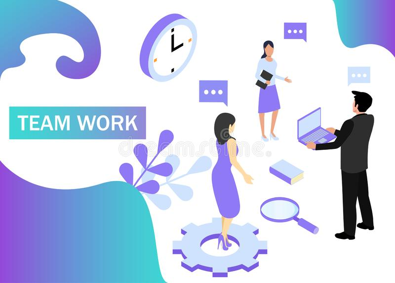 Teamwork concept in violet colors. Use for web banner, infographics, strategies. Isometric projection. Vector illustration.  vector illustration