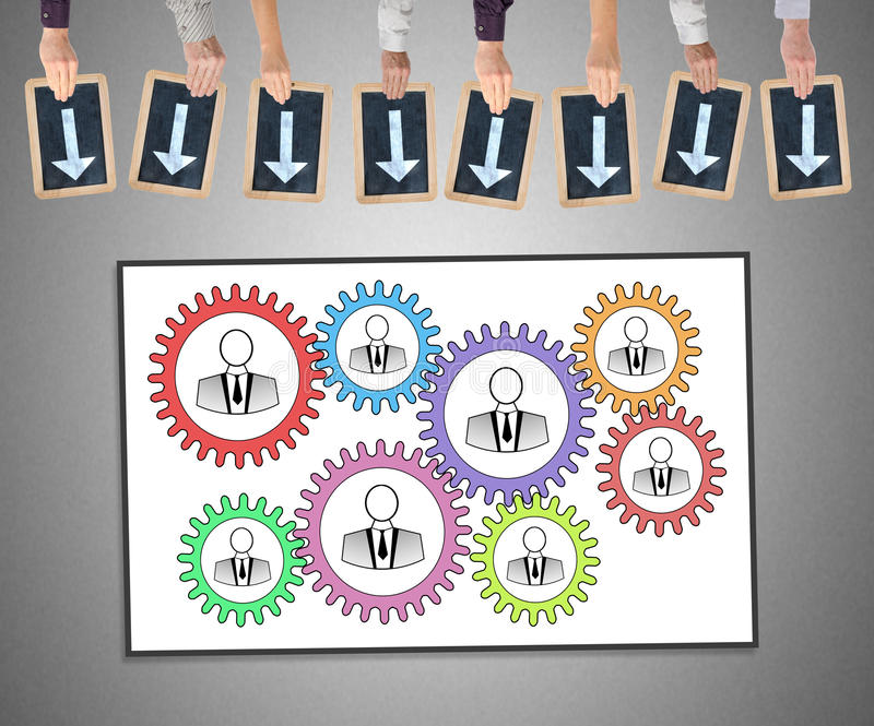 Teamwork concept on a whiteboard stock images